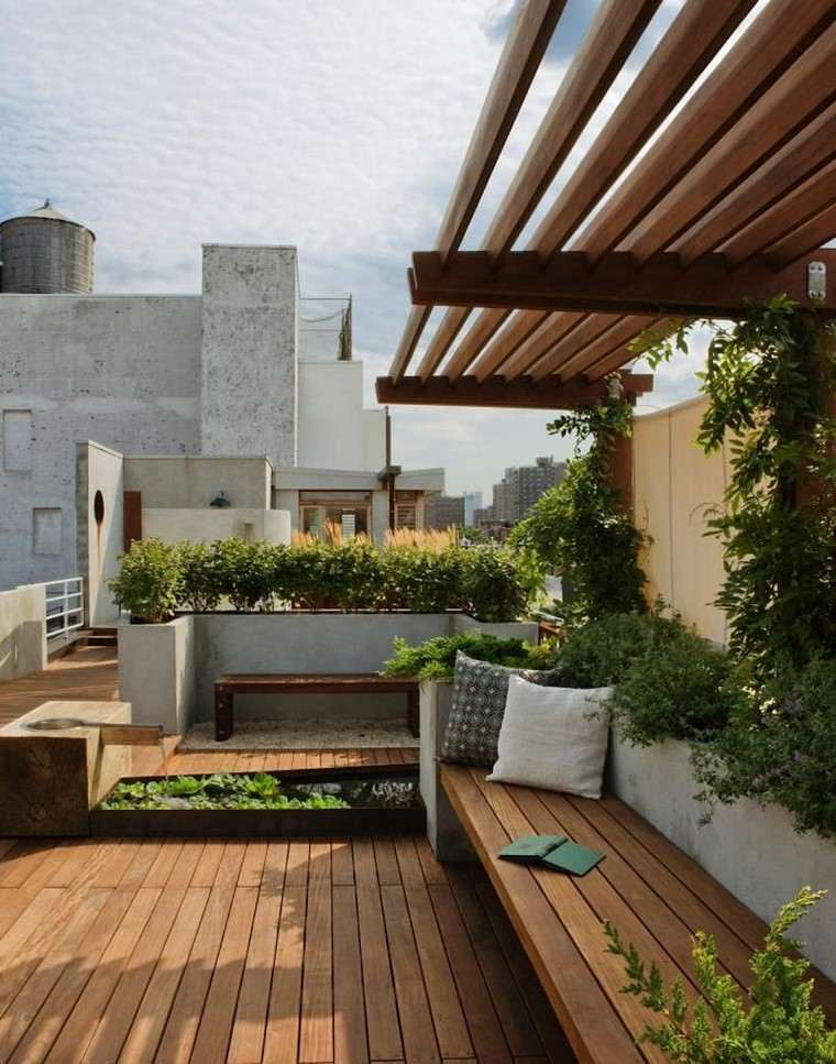 decoracion terraza atico diseno suelo banco madera ideas