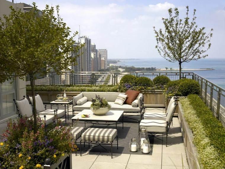 decoracion terraza diseno muebles comodos acero ideas
