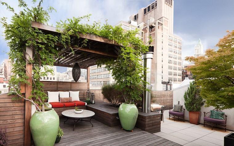 decoracion terraza diseno pergola plantas macetas grandes ideas