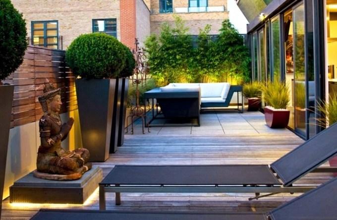 decoracion terrazas pequeñas fuentes sillones
