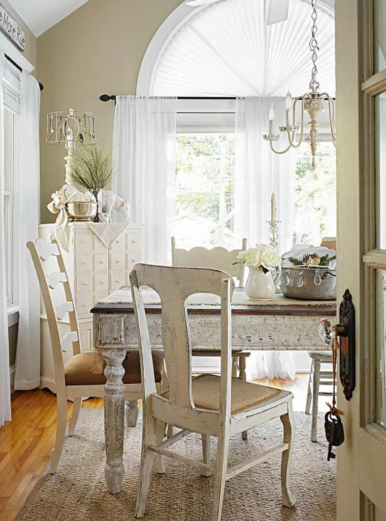 decoracion vintage diseno comedor sillas blancas ideas
