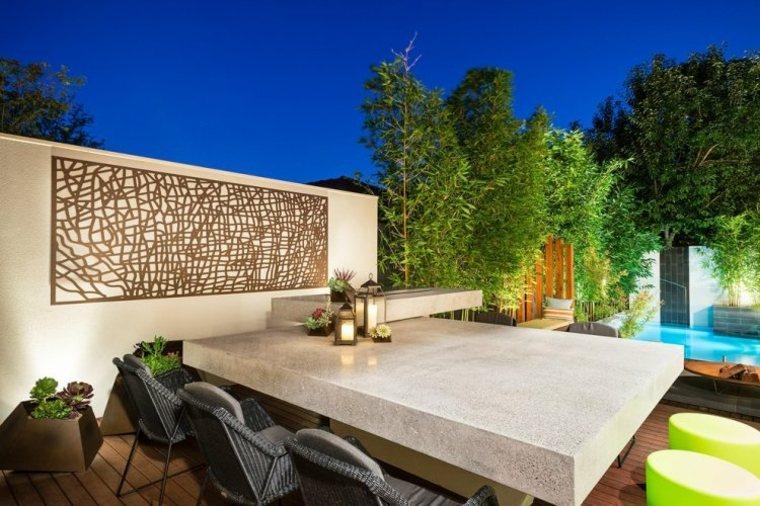 decoracion muro jardin corten formas