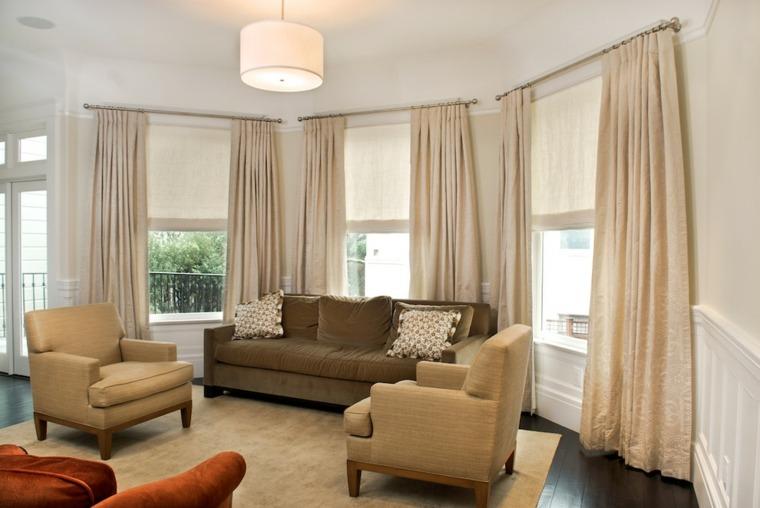 diseno cortinas lisas color beige