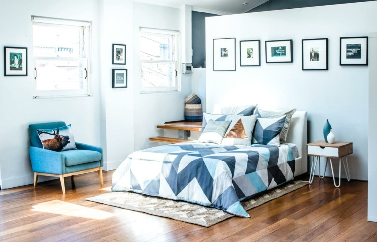 diseno escandinavo interiores dormitorio azul blanco ideas