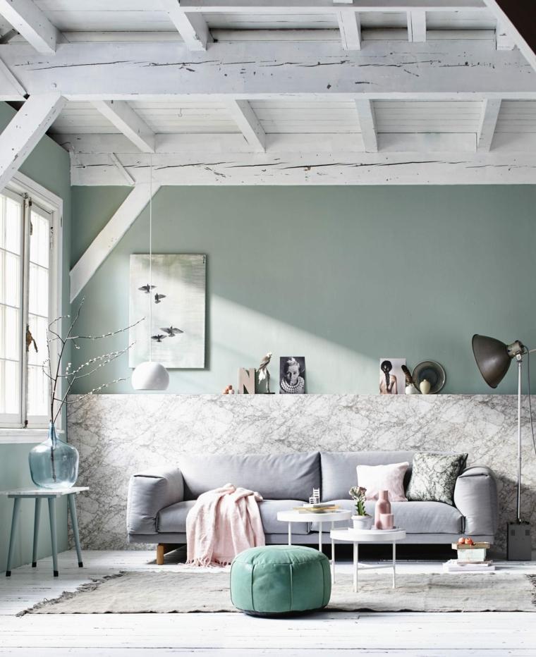 diseno escandinavo interiores panel marmol ideas