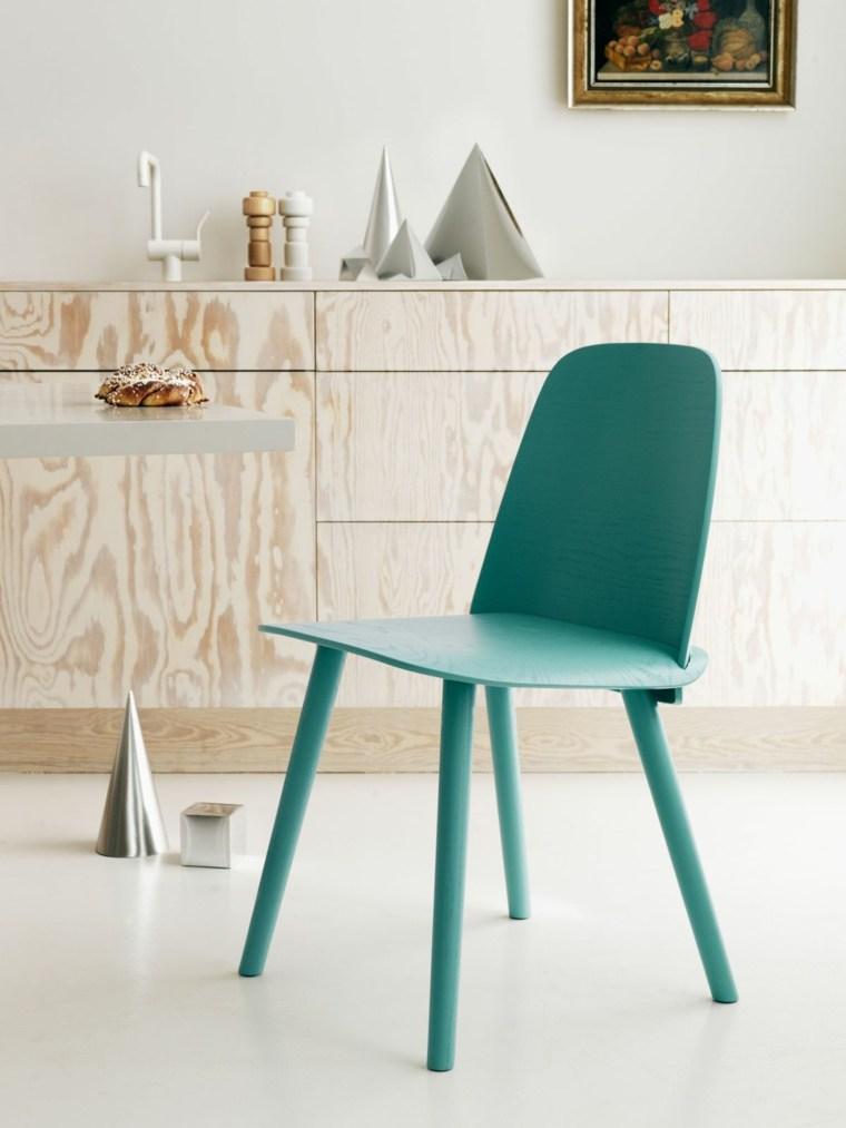 diseno estilo escandinavo silla pintada color verde ideas