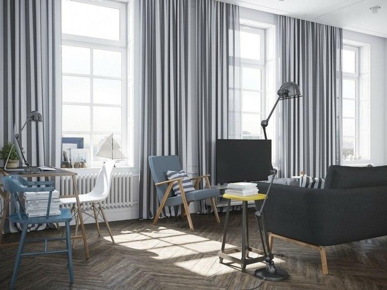diseno salon moderno conjunto cortinas
