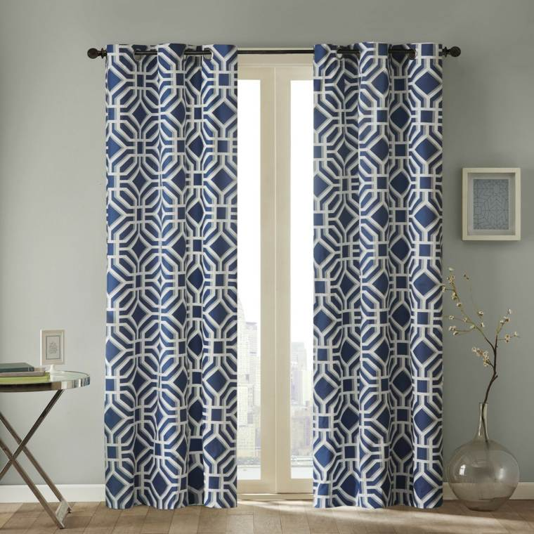 diseno cortinas motivos patrones azules