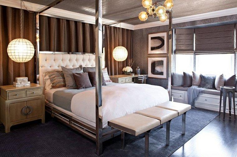 dormitorios diseno tradicional cama dosel iluminacion ideas