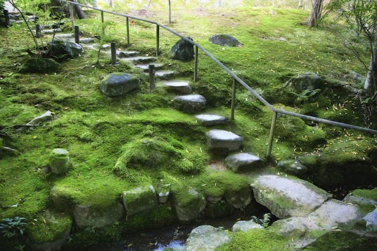 escaleras exteriores piedra estilo zen