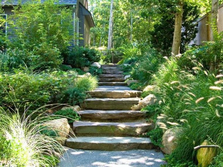 escaleras piedra bonito jardin plantas