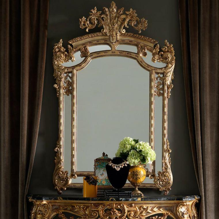 espejo marco dorado estilo retro