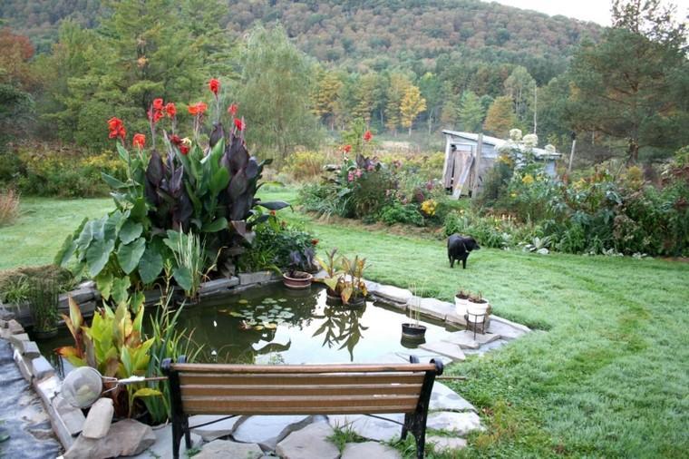 estanques de jardin opciones aire libre banco madera ideas