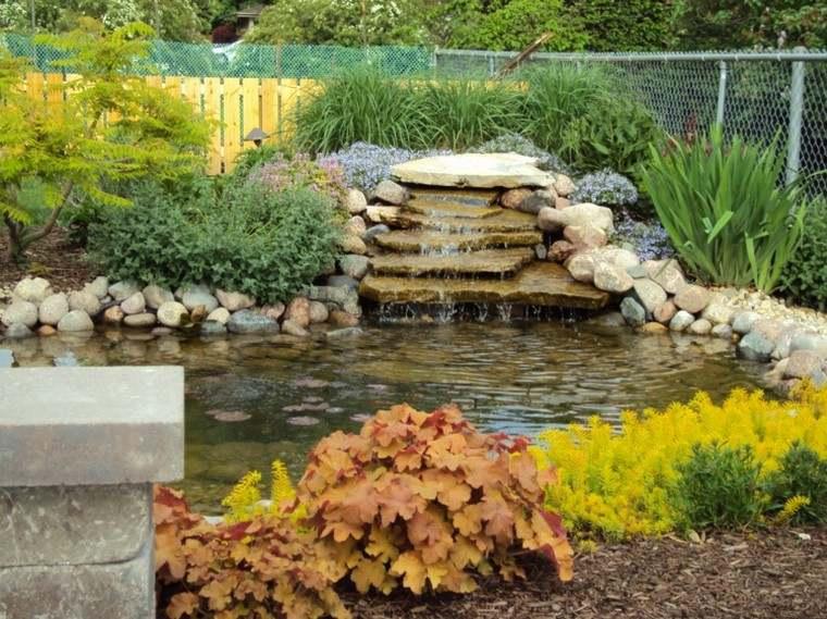 estanques de jardin opciones aire libre fuente piedras ideas