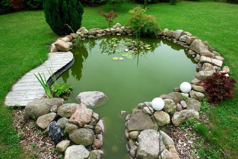 estanques jardin opciones aire libre cesped piedras ideas