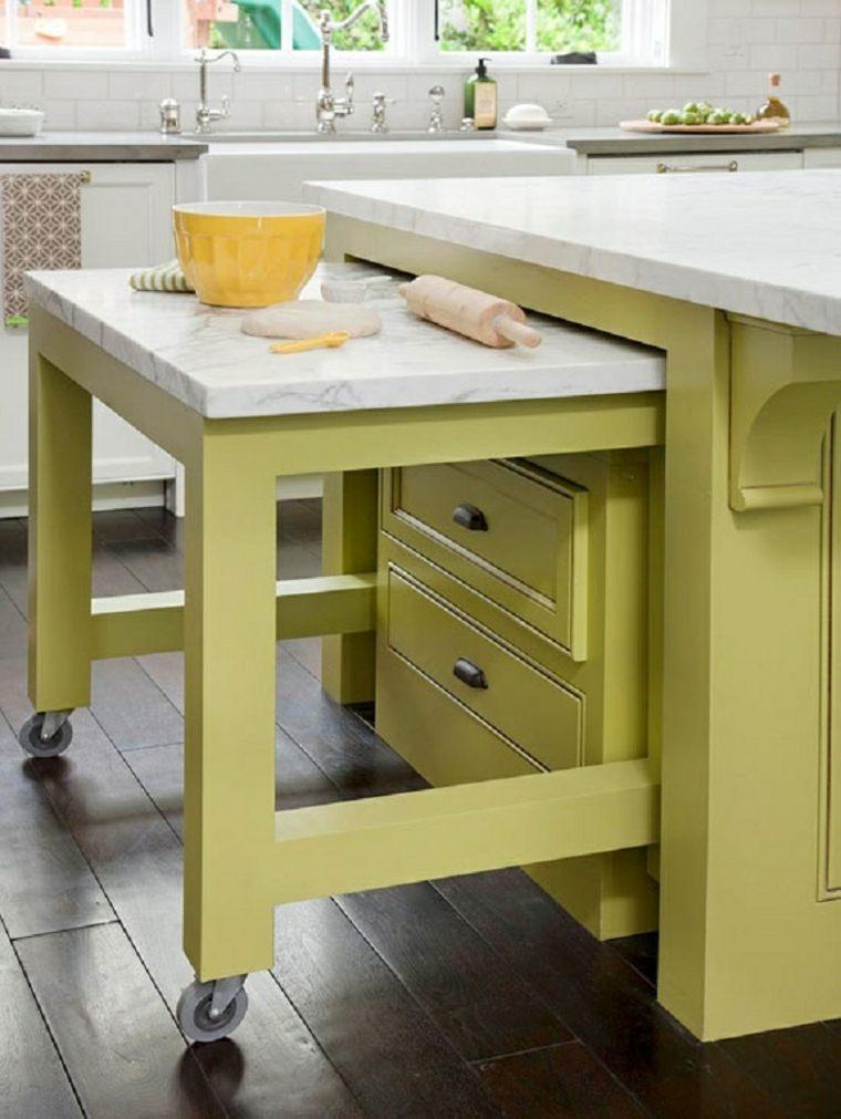 Trucos e ideas geniales para ahorrar espacio en la cocina - Mesa extraible cocina ...