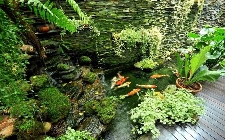 estupendo estanque peces koi
