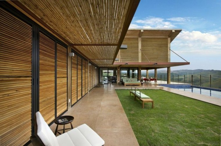 estupendo diseño porche cubierta bambú terraza