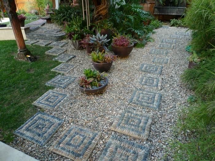 exotico patios madera concepto rocas