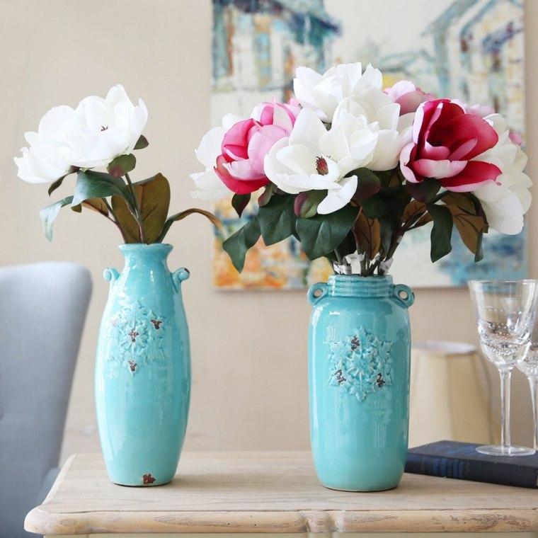flores frescas jarrones modernos color azul precioso ideas
