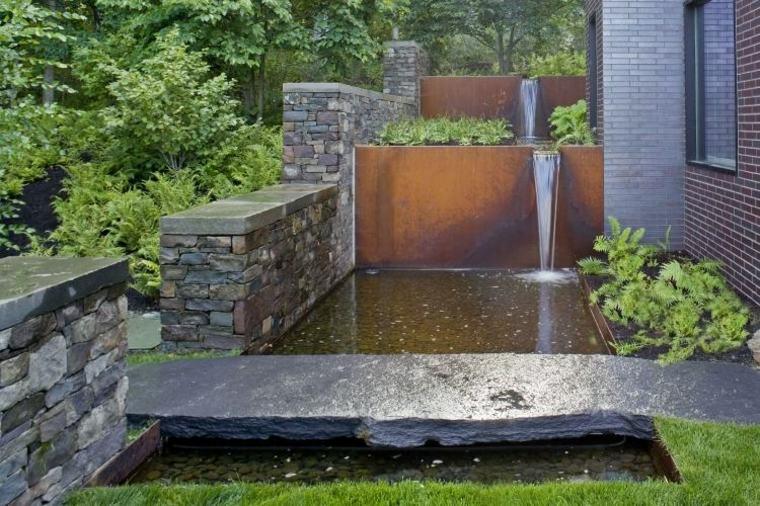 fuente cascada jardin moder na corten