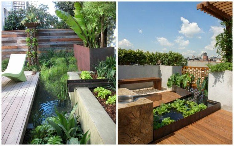 fuente diseño estanque jardin corten