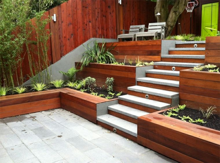gradas terrazas madera patio