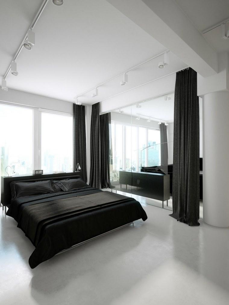 habitacion blanca cama cortina negra