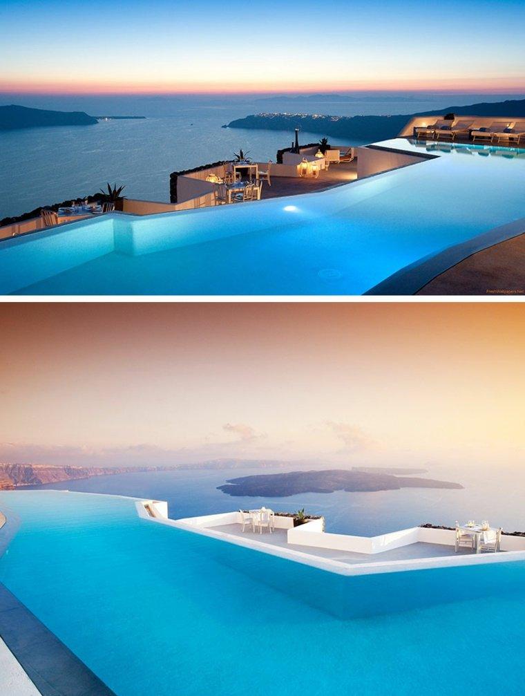hoteles romanticos terrazas Grace Hotel Santorini Grecia ideas