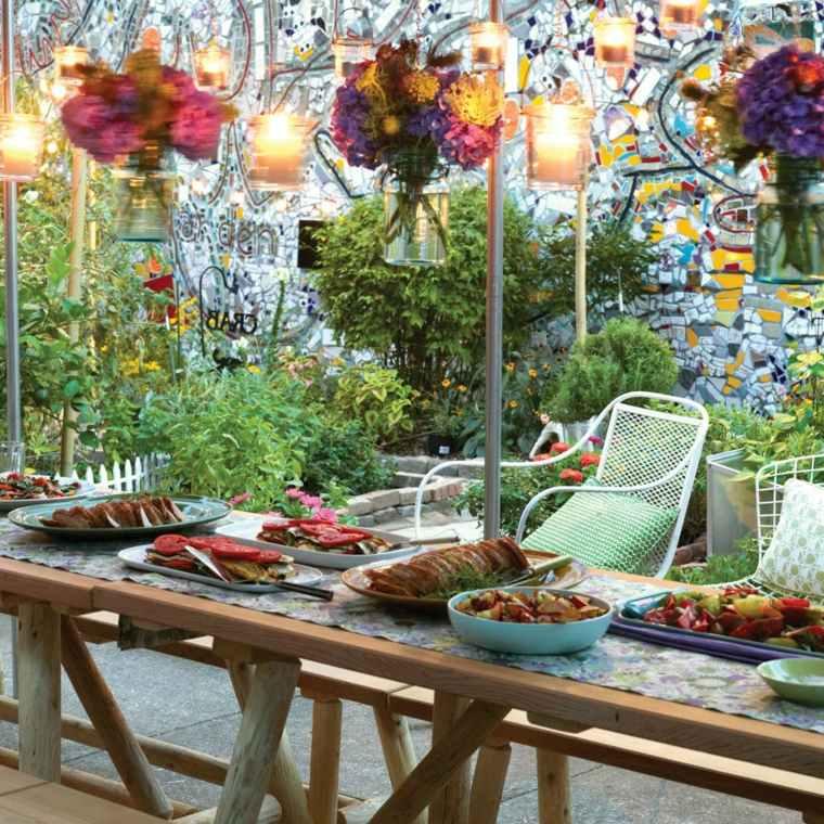 ideas para cumpleanos mesa cena comida aire libre mesa madera