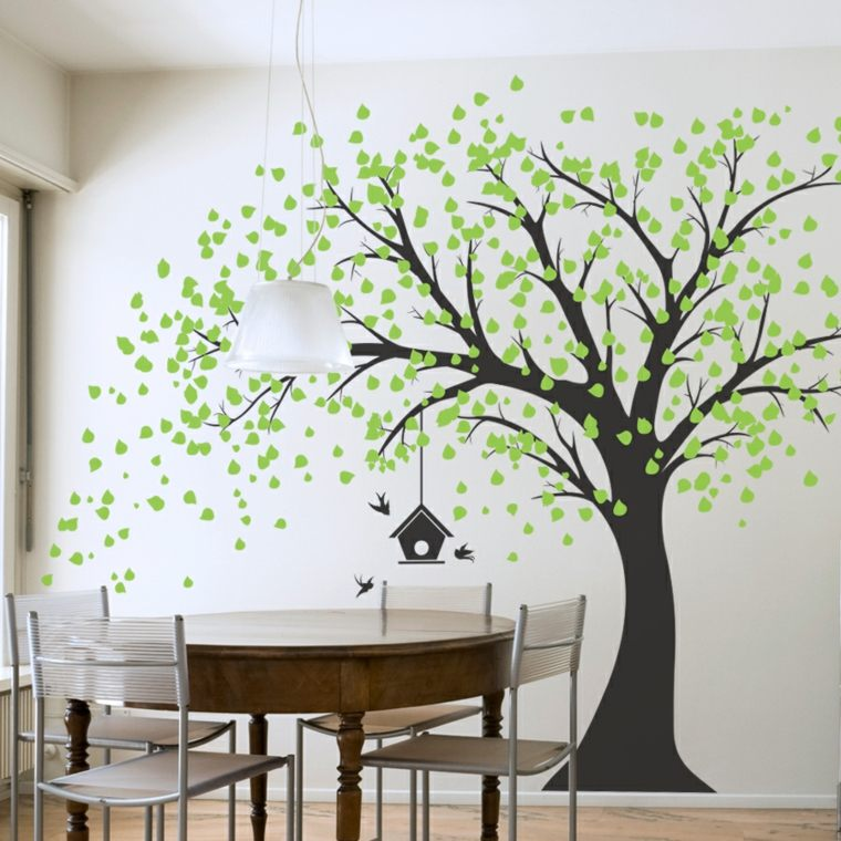 Ideas de decoracion de paredes bellas soluciones pr cticas for Large tree template for wall