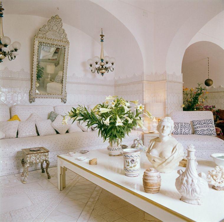 ideas decoracion salon diseno blanco detalles modernos