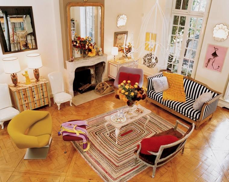 ideas decoracion salon diseno muebles coloridos moderno