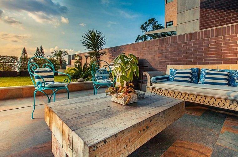 ideas terrazas muebles madera acero combinacion moderna