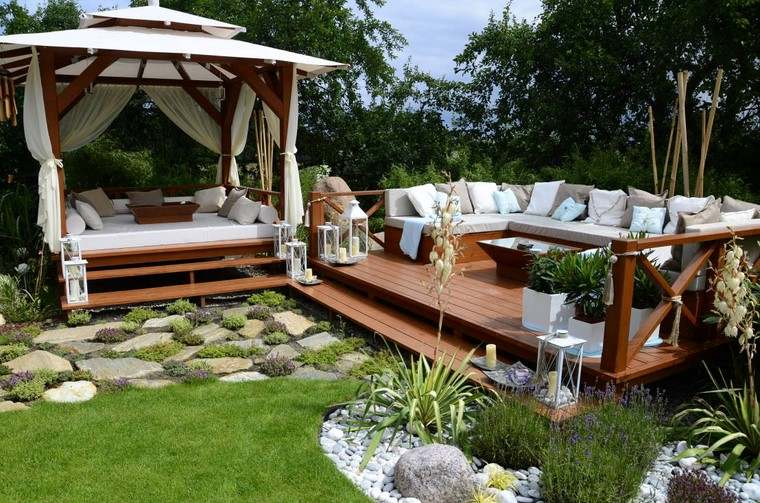 ideas terrazas muebles madera resistentes aire libre moderna