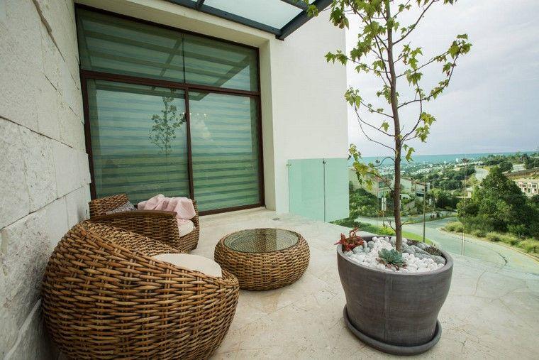ideas terrazas diseno muebles maceta grande moderna