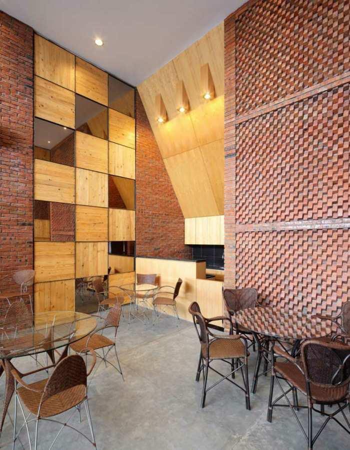 interesantes efectos salas materiales ladrillos