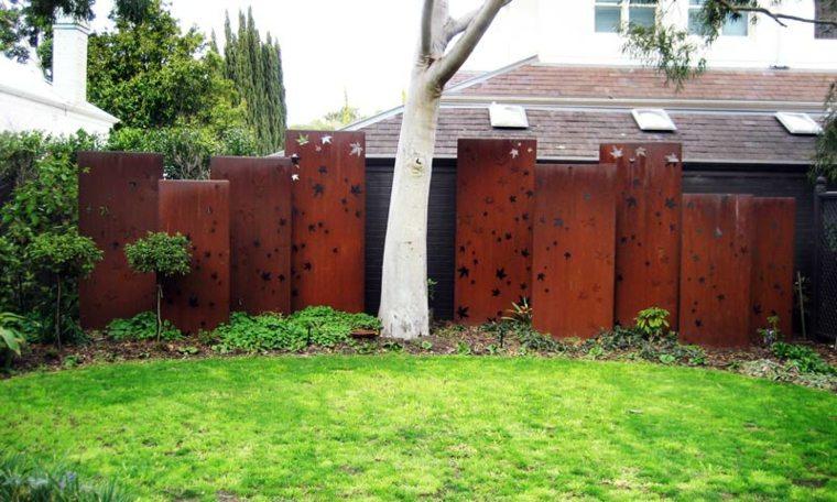 jardin cesped valla acero corten opciones ideas
