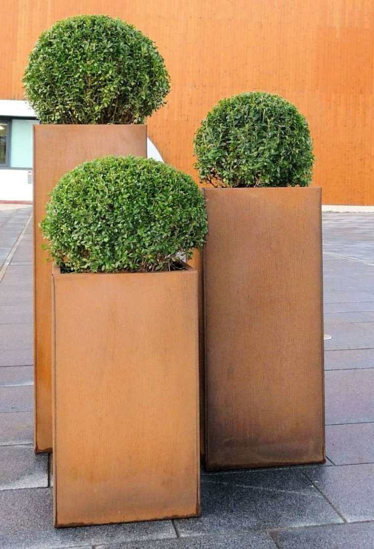 jardineras rectangulares verticales modernas corten