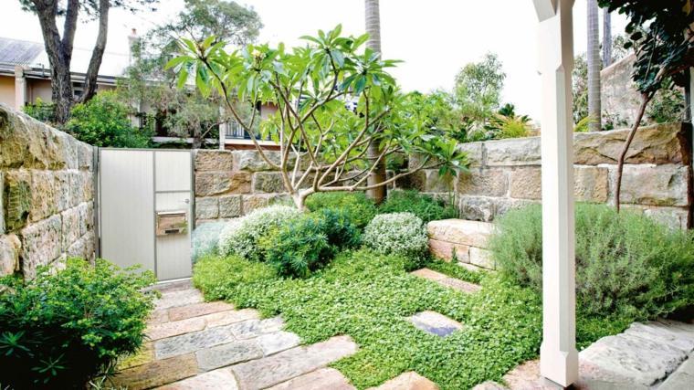 jardineria diseno de jardin urbano delantero rustico ideas