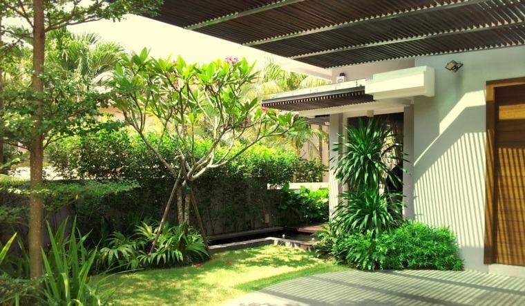jardineria diseno de jardin urbano entrada casa ideas