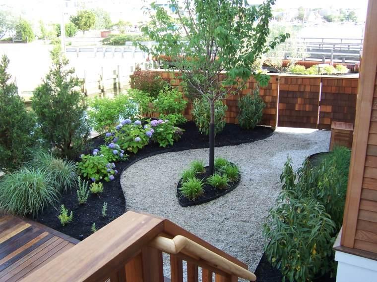 jardineria diseno de jardin urbano grava plantas ideas