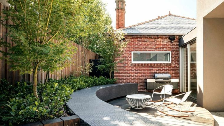 jardineria diseno jardin urbano muebles blancos ideas