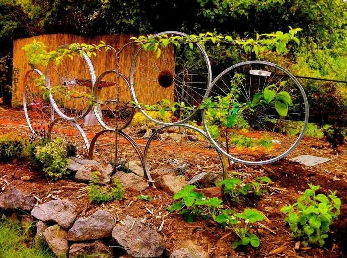 la bicicleta vieja recicladas llantas jardineria ideas