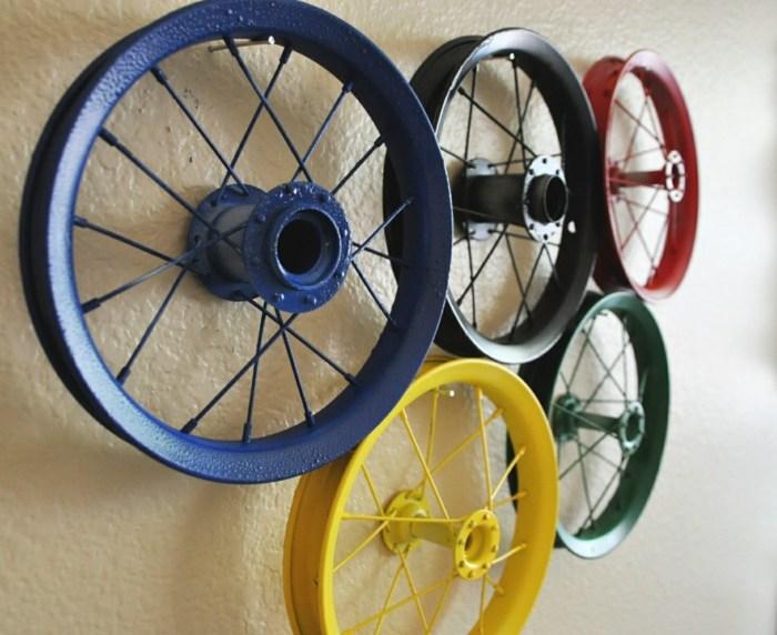 llantas bicicleta opciones reciclar decora pared colores ideas