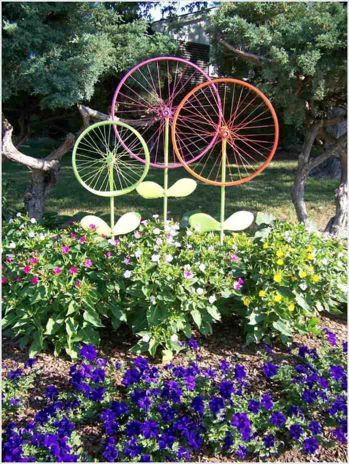 llantas bicicleta opciones reciclar jardin detalles ideas