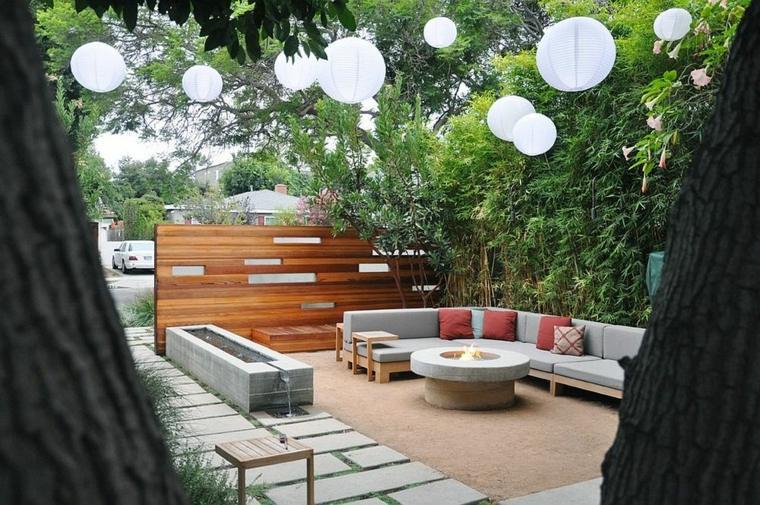 luminarias diseño arboles estilos muebles patio moderno