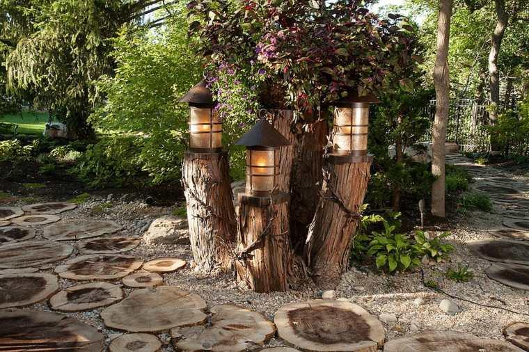 luminarias diseño especiales muebles colores troncos