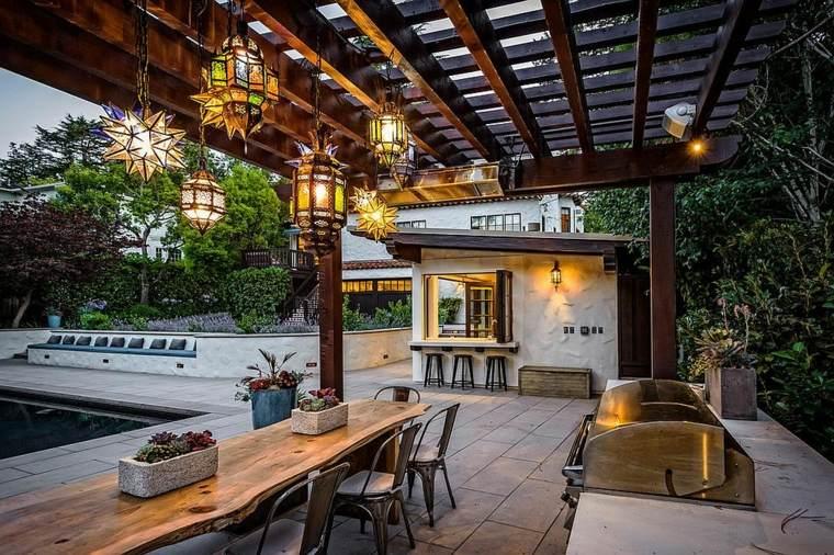 luminarias diseño especiales patios colores listones