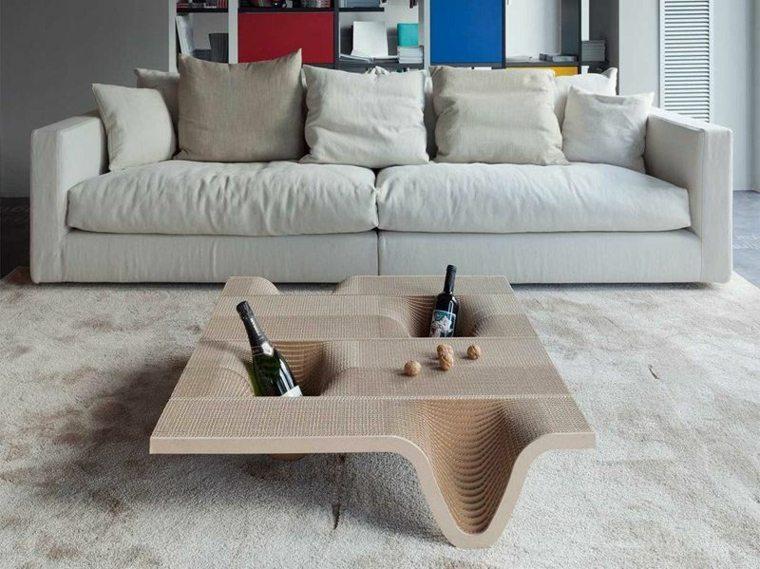 mesa salon carton compartimentos botellas vino ideas
